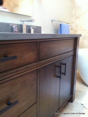 oak vanity with antiquing