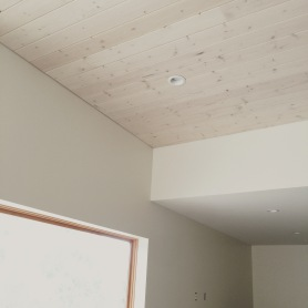 Knotty Pine Ceiling with Gray Stain