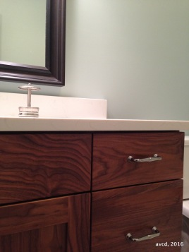 Walnut Vanity, Quartz Countertop